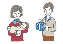 親戚に送る「出産内祝い」イラスト