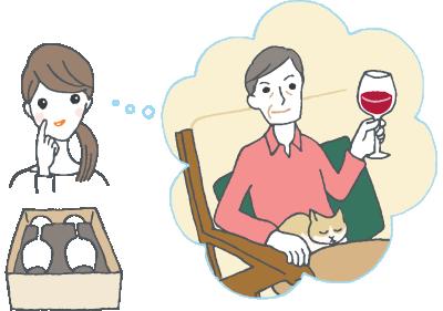 上司への出産内祝いにワイングラス?のイラスト