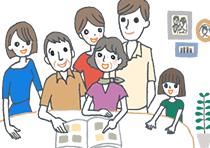 家族みんなで結婚内祝いのカタログギフトを選んでいるイラスト