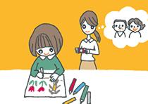 入学祝いのお礼に絵を描く子ども