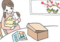 出産祝いのメッセージカードを読む女性