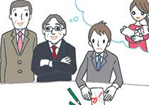 上司と連名での出産祝い熨斗袋の書き方を悩む若手社員