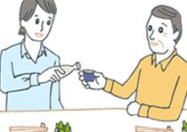 息子と酒を酌み交わす父親