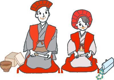 プレゼントを脇に、赤い座布団に並んで座る、赤いちゃんちゃんこと恵比寿帽、扇子を持った還暦を迎えたご夫婦