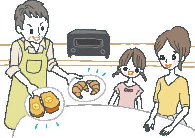 高級トースター(バルミューダ)で焼いた食パンを家族に振る舞って満足げな40代のお父さん