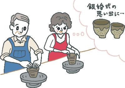 陶芸体験で楽しそうに夫婦湯飲みを作る銀婚式の夫婦