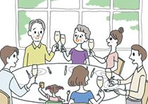 金婚式を迎えた老夫婦とその家族がテーブルを囲んで食事をしているところ