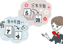 寒中見舞いの時期(1月7日過ぎ~2月4日頃)、余寒見舞いの時期(2月5日頃~2月下旬)」をカレンダーを使って説明するギフトコンシェルジュ