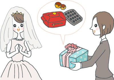 事務服の女性が、ウェディングドレスの女性にプレゼントを渡そうとしている様子。プレゼントの中身は、たこ焼き器にもなるコンパクトなホットプレート。