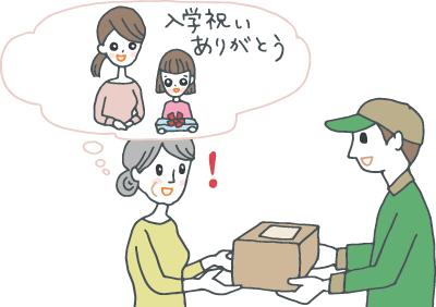宅配便の荷物を受け取りながら、入学祝いを贈った親戚の子供とその母親を思い浮かべる年配の女性