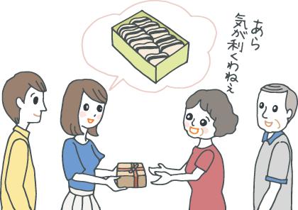 「(縁起物の)最中です」と、パートナーの両親に手土産を渡す若い女性とそれを見守るパートナー