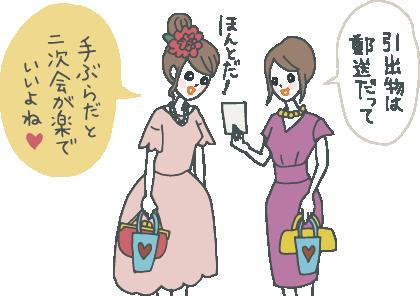 顔を寄せて1枚のカードをみながら「引出物は郵送だって」「手ぶらだと二次会が楽でいいよね」と言い合う若い女性ゲストたち。それぞれ小さな紙袋(引菓子やプチギフト)を持っている。