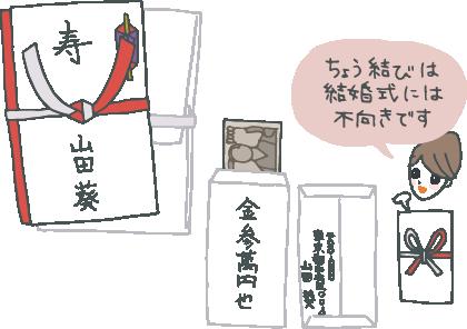 ご祝儀袋の表書き、中袋の書き方、外包みの折り方図解と「蝶結びは結婚祝いには不向きです」と説明するコンシェルジュ