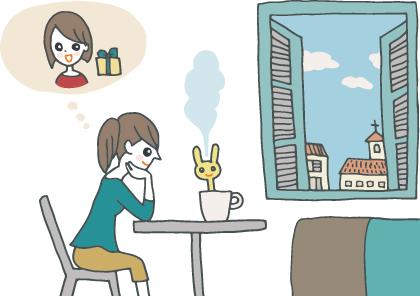 イラスト:旅先のホテルの部屋で、マグカップに入れて使う加湿器をセットし、贈り主を思い浮かべる女性