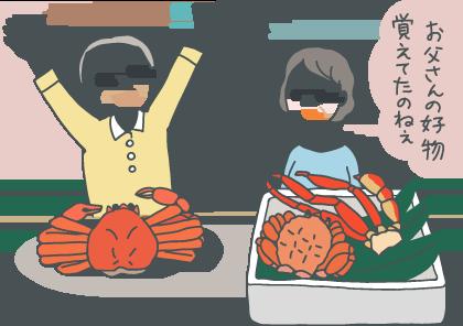 イラスト:蟹の詰め合わせをもらってはしゃぐ父親。隣で母親が「お父さんの好物、覚えてたのね~」とほほえましく眺めている。