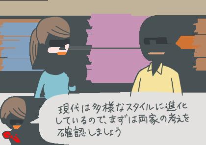 イラスト:結納を関東式にするか関西式にするか悩む、東京出身の新婦と京都出身の新郎。「現代は多様なスタイルに進化しているので、まずは両家の考えを確認しましょう」とコンシェルジュ